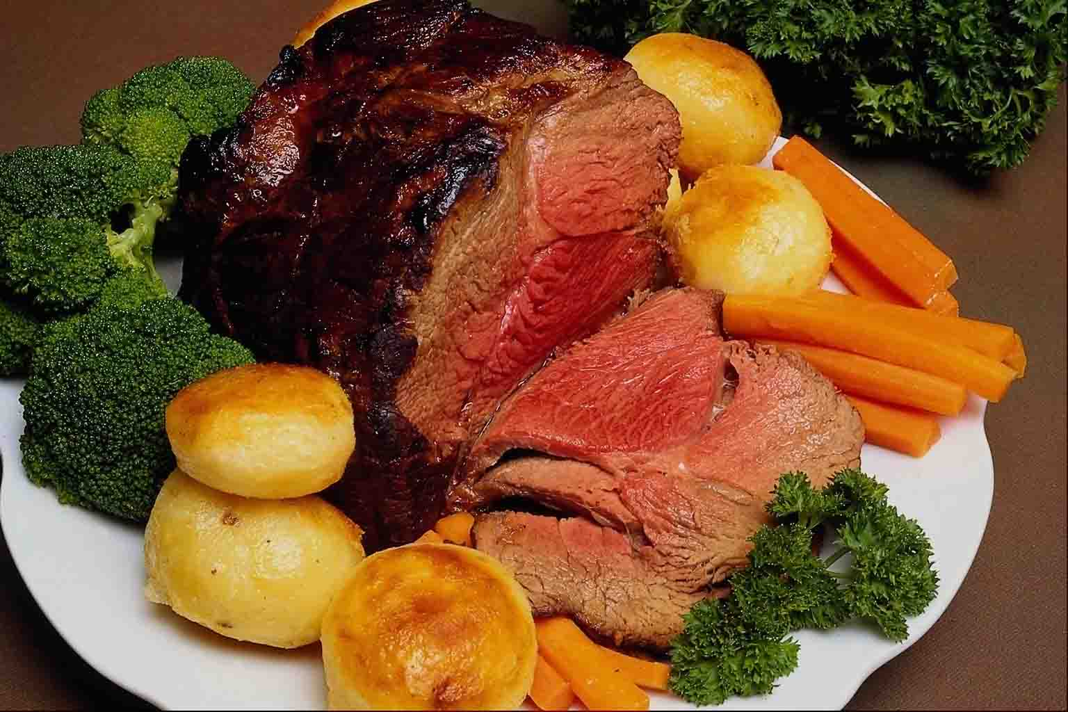 Traditionally it consists of roast meat, (cooked in the oven for about ...
